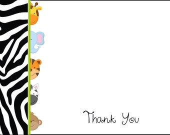 Baby Jungle Animal Baby Shower Thank You Notes