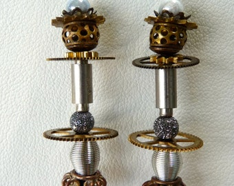 Repurposed steampunk clock parts chandelier earrings