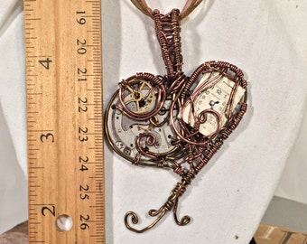Mechanical Wire Wrap Heart Steampunk Pendant