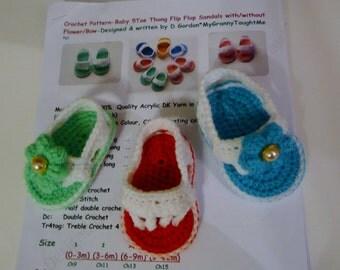 Crochet Pattern Baby 4 thong Flip Flops/ Flower Sandals