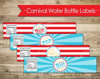 Carnival Baby Boy Shower Water Bottle Wrappers - Instant Download