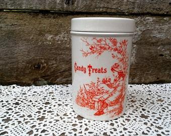 Candy Treats Jar, Orange Transferware, Jar, Royal Crownford, Staffordshire England, Treats Jar, Halloween Decor, See Details Below