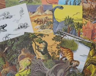 Vintage Dinosaur Prints Lot, book pages
