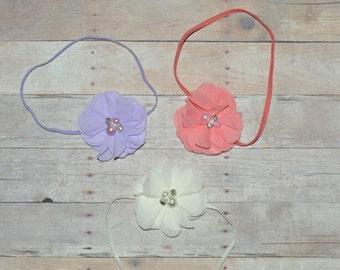 Flower Headband Lavender Ivory CoralHeadband Baby Toddler Headband Flower Girl Spring Summer