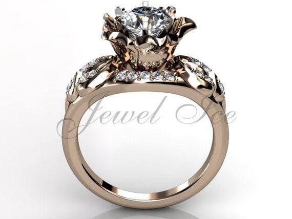 14k gold unique flower engagement ring