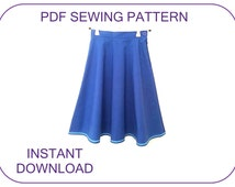 Computer drafted PDF sewing pattern and tutorial. Very EASY. Girls 6 panel skirt. Frozen Anna skirt pattern. Frozen costume. Skirt pattern.