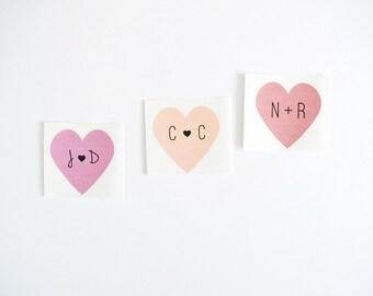 Custom Heart Initials Sticker Labels Seals. Bridal Shower Favor Labels. Wedding Invitation Envelope Seals. Choose Your Color