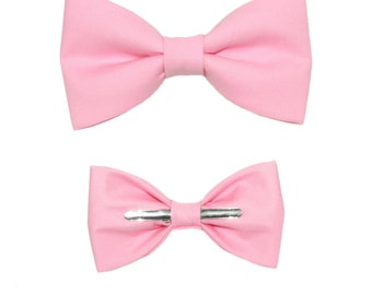 Carnation Pink Clip On Cotton Bow Tie ~ Choice of Men's or Boys Sizes ~ Father's Day / Prom / Wedding / Formal Events