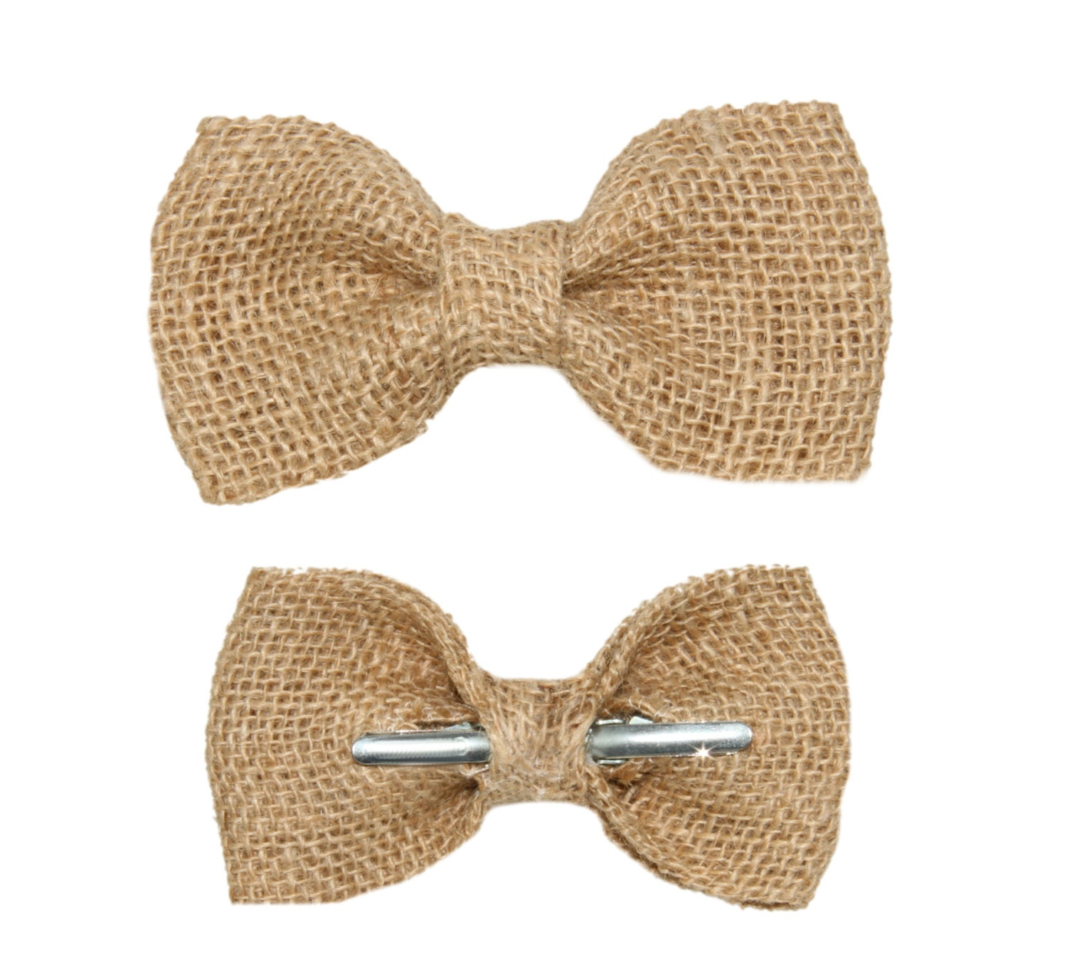 Natural Burlap Clip On Bow Tie Men / Boys / Toddler Rustic