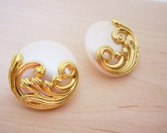 Vintage Large Gold Tone White Button Style Circle Post Earrings - Gift for Her - A250