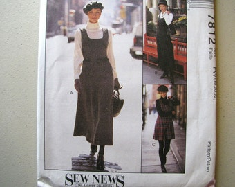 Vintage McCalls 7812 Misses Jumper Sewing Pattern - Sizes 18, 20, 22 - Zippered Jumper Pattern Two Lengths - Sew News The Fashion Collection