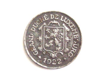 Vintage Grand Duchy of Luxembourg 1922 25 centimes coin. Charlotte.  Diam.: mm. 23  Art. 1152 .95 years old. 95th Anniversary, 95th Birthday