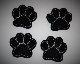 Set of 4 Black Paw Print Feltie Felt Embellishments