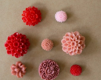 Pink & Red Flower Push Pins