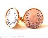 7th anniversary gifts for men personalized cufflinks husband gift for him Roman numeral Cuff links copper and bronze