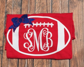 Monogram football shirt, women's monogram football t shirt with glitter bow, team spirt monogram t shirt