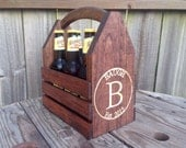 Personalized Engraved Rustic 6-pack beer bottle carrier 12 oz wood homebrew tote new gift wedding groomsman birthday fathers day valentines