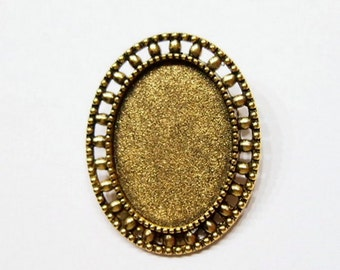 6 of 25x18 mm Antique Gold Beaded Brooch or Pin Settings, Could be Pendant for Cameos, Cabs, Glass, Tile