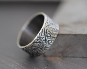 Mens Hammered Ring Sterling Silver Tree Bark By