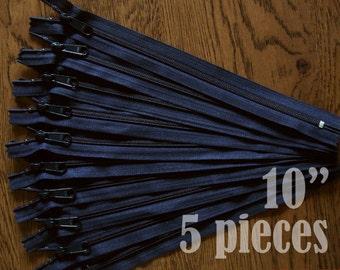 "navy blue zippers, handbag zippers, purse zippers, 10"" zippers, ykk zippers, 10 inch zips, wholesale zippers - no. 4.5 5 zippers"