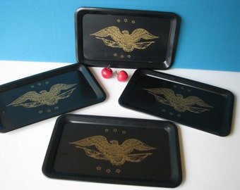 Toleware Trays Small - Gold Eagle - Metal - Patriotic - Set of 4 - Vintage 1960's