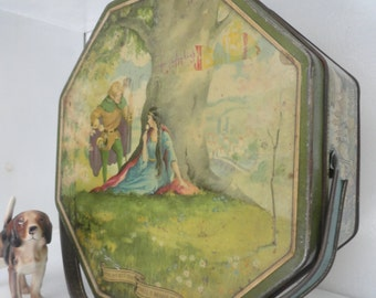 Biscuit Tin Cookie  Retro  Cookie Tin Octagonal Handle Basket Robin Hood Fairy Tale Loose Wiles Biscuit Company