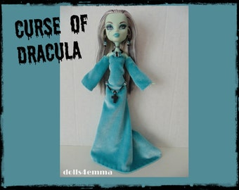 CURSE of DRACULA Medeival Gown Gothic Belt and Jewelry Set for Monster High dolls - handmade doll clothes by DOLLS4EMMA