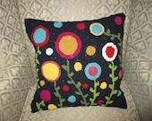 Rug Hooked Flower Pillow