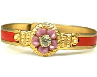 Light Purple Plastic Flower Rhinestone Bracelet