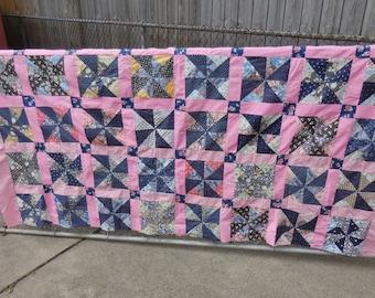 Vintage Feedsack Quilt Top Pinwheels Pink