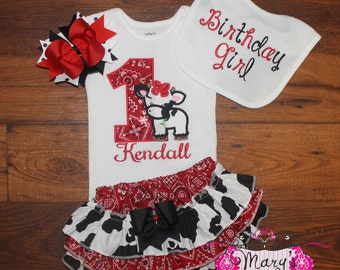 Farm Cow Ruffled Bloomers Birthday Outfit