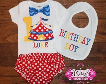 Carnival Circus Tent Boy Birthday Bloomers Outfit