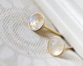 rainbow moonstone gold stud earrings /// tiny 4mm rose cut moonstones set in 14k gold-filled bezels /// june birthstone