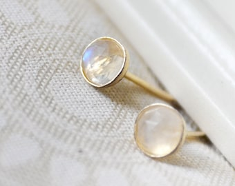 rainbow moonstone gold stud earrings /// tiny 4mm rose cut moonstones set in 14k gold-filled bezels /// june birthstone