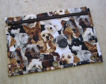Binder Pencil case with Grommets : Dog print with dark brown zip and brown lining