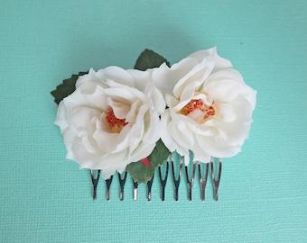 Creamy White Rose Bridal Comb-Pink Vintage Style Rose Comb-Updo Bridal Comb-Vintage Wedding