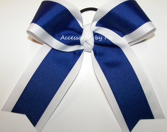 Bulk Price, Blue White Cheer Bow, Royal White Cheerleader Bow, 6 Inch Ponytail Holder Bows, Volleyball Cheering Spirit Bow, Dance Team Bows