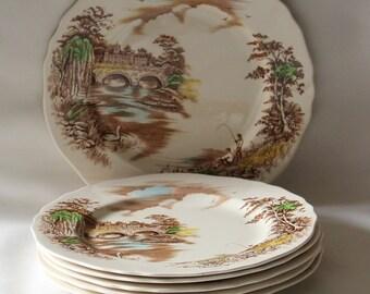 Six Medium Dinner Plates Vintage 1950's Alfred Meakin English Bridges Series