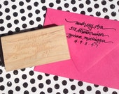 FREE SHIP Return Address Stamp, Personalized, Custom Wood and Rubber with Custom Calligraphy in Choice of Font Wedding