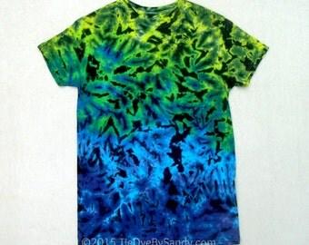 Small Tie-Dye Shirt Blue Green Scrunch