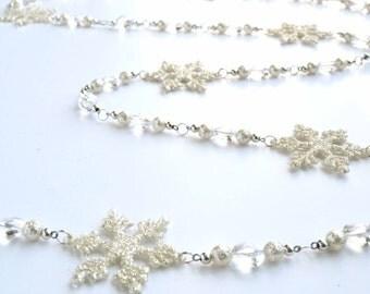 Snowflake Garland with Silver Sparkle Snowflake and Silver Gems - Christmas Tree Garland, Mantel Garland, Christmas Decor