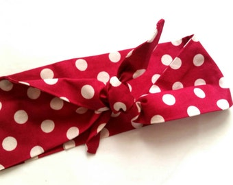 Rockabilly raspberry polka dot bandana/headwrap