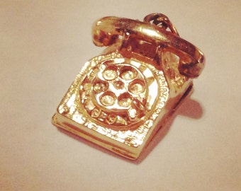 Sterling Silver Charm - Telephone Charm - 1950s 1960s Rotary Phone Charm - Gold Vintage Phone Charm by M&M - Vintage Jewelry - Vintage Charm