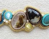 Gemstones seed bead embroidery bracelet
