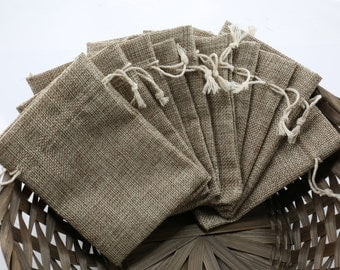 "10pcs Small 3""x4"" Linen Bags, Natural, DIY Wedding Party Gift Bag, Drawstring Pouches"