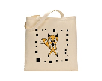 Unique shopper tote, fox shopping bag, present for her, girlfriend gift