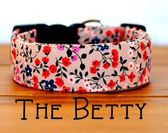 """Girly Beige, Navy, & Coral Vintage Inspired Floral Dog Collar """"The Betty"""""""