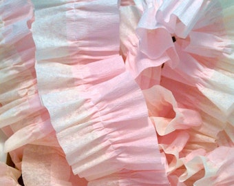 Baby Pink and Ivory Ruffled Crepe Paper Streamers - 36 Feet - Party Garland Streamer Decoration Supplies
