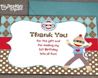 Sock Monkey Thank You Card - You Print - DIY - INSTANT DOWNLOAD