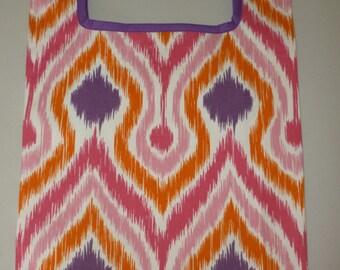 Pink and Purple Geometric Print Reusable Grocery Bag